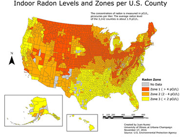 Indoor radon levels by county in the United States.